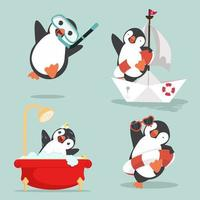 uppsättning roliga pingviner tecknade arktiska vektor