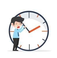 sorglig affärsman som försöker stoppa tiden