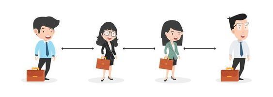 affärskontor människor social distansering koncept vektor