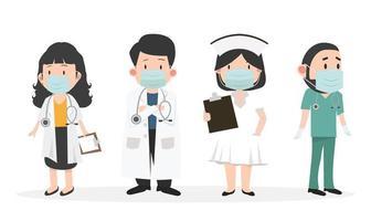 Gruppe von Ärzten und Krankenschwestern mit medizinischem Maskenset vektor