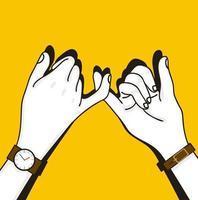 menschliches Handversprechen auf gelbem Hintergrund