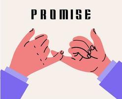 Hände in einem Versprechen gestikulieren