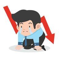 Geschäftsmann weint traurigen Grafikpfeil nach unten