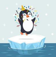 söt pingvin med festhatt på isflakvektor