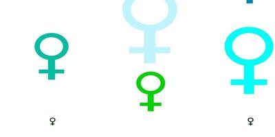 hellblaue, grüne Vektorbeschaffenheit mit Frauenrechtssymbolen.