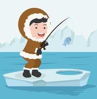Inuit-Mann, der auf Eisschollenvektor fischt vektor