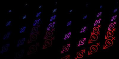 dunkelblaues, rotes Vektormuster mit Feminismuselementen.
