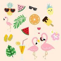 süßer rosa Flamingo mit tropischem Sommer vektor