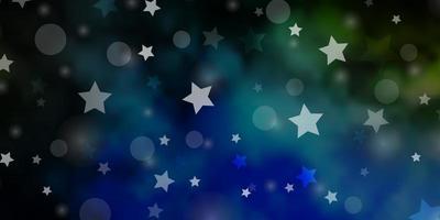 dunkelblaue, grüne Vektorbeschaffenheit mit Kreisen, Sternen.
