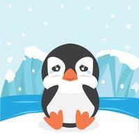 söt pingvin som gråter på isflak vektor