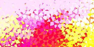 hellrosa, gelber Vektorhintergrund mit Dreiecken, Linien. vektor