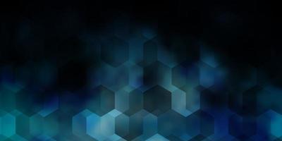 mörkblå vektorbakgrund med uppsättning hexagoner. vektor