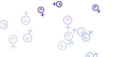 hellvioletter Vektorhintergrund mit Frauensymbolen.