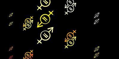 dunkelrotes, gelbes Vektormuster mit Feminismuselementen.