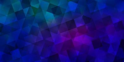 hellblaue, rote Vektorschablone mit Kristallen, Quadraten.