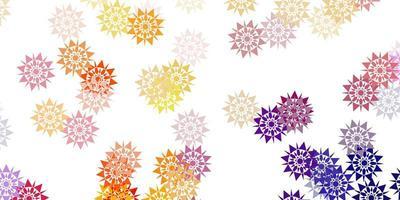 hellrosa, gelbes Vektormuster mit farbigen Schneeflocken. vektor