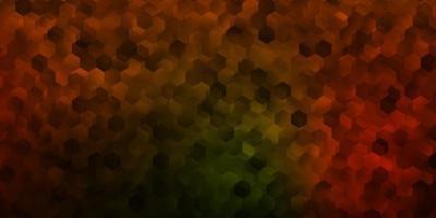 dunkelgrüner, gelber Vektorhintergrund mit sechseckigen Formen.