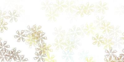 ljusblå, gul vektor abstrakt mönster med blad.