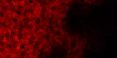 mörk röd vektor bakgrund med uppsättning hexagoner.