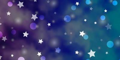 hellrosa, blauer Vektorhintergrund mit Kreisen, Sternen.