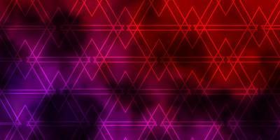 hellrosa, rote Vektorschablone mit Linien, Dreiecken. vektor