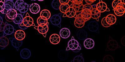 dunkelrosa, roter Vektorhintergrund mit okkulten Symbolen. vektor