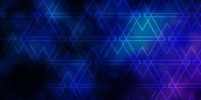 mörkrosa, blå vektorlayout med linjer, trianglar. vektor