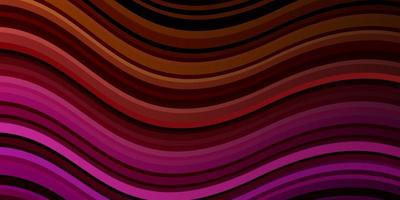 dunkelrosa, gelber Vektorhintergrund mit gekrümmten Linien. vektor