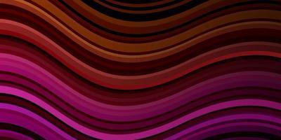 mörkrosa, gul vektorbakgrund med böjda linjer.