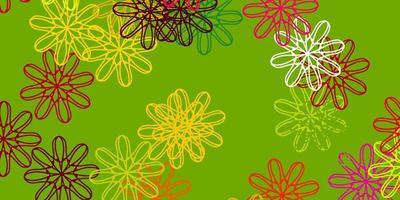 heller mehrfarbiger Vektor Gekritzelhintergrund mit Blumen.