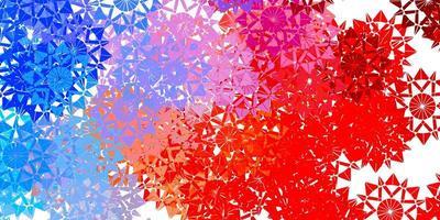hellblauer, roter Vektorhintergrund mit Weihnachtsschneeflocken. vektor
