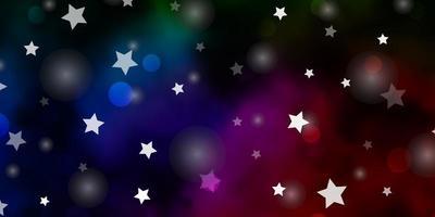 dunkelrosa, grüne Vektorschablone mit Kreisen, Sternen.