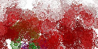hellgrüner, roter Vektor schöner Schneeflockenhintergrund mit Blumen.