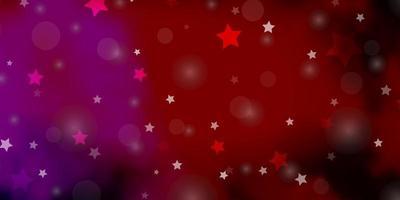 dunkelrosa, gelbes Vektormuster mit Kreisen, Sternen.