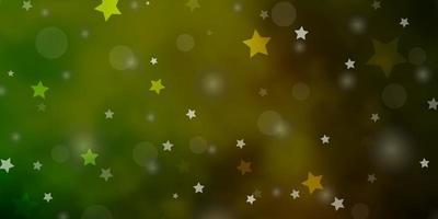 dunkelgrüner, gelber Vektorhintergrund mit Kreisen, Sternen.