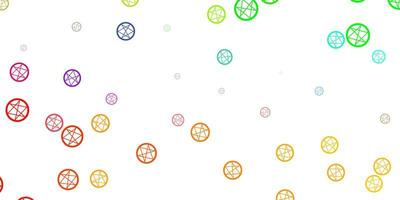 ljus flerfärgad bakgrund med mysteriesymboler.