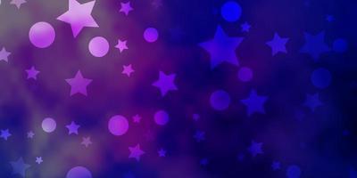 dunkelrosa, blauer Vektorhintergrund mit Kreisen, Sternen.