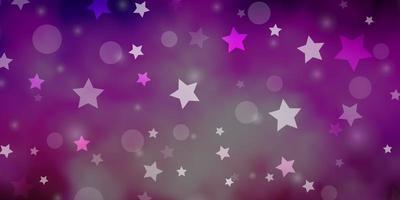 mörk lila, rosa vektormönster med cirklar, stjärnor. vektor