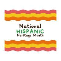 National Hispanic Heritage Schriftzug mit Flaggen flache Stilikone