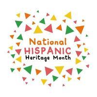 National Hispanic Heritage Schriftzug mit Konfetti Farben flache Stilikone