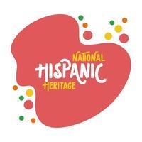 Nationales hispanisches Erbe, das flachen Stil beschriftet