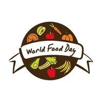 Welternährungstag-Feierbeschriftung mit flachem Stil der gesunden Nahrung