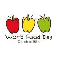 världens matdag firande bokstäver med äpplen platt stil