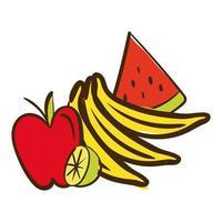 färsk frukt platt stilikon vektor