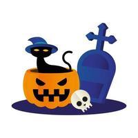 Halloween-Katze mit Hut auf Kürbis mit Grabvektorentwurf