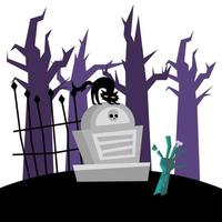Halloween-Katze auf Grab und Zombie-Handvektorentwurf