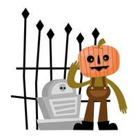 Halloween-Kürbis-Karikatur mit Grabvektorentwurf