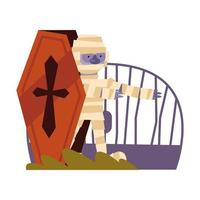 Halloween-Mumienkarikatur im Sarg, Vektordesign