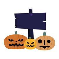 halloween pumpor med bannervektordesign vektor