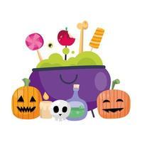 Halloween Kürbisse Cartoons und Bonbons in Hexenschale Vektor-Design